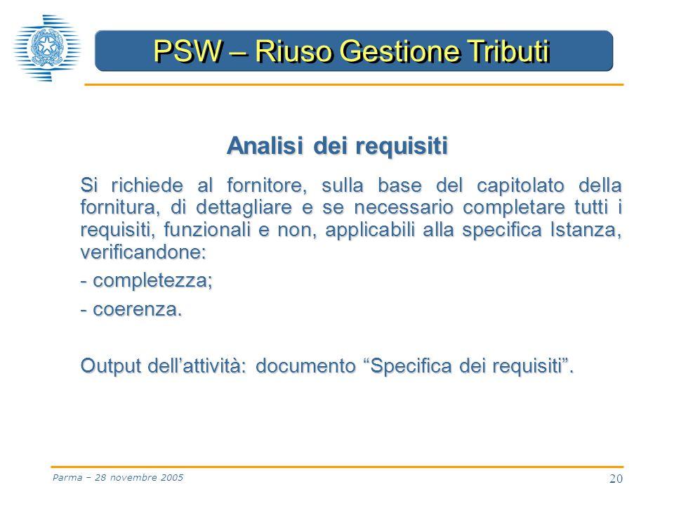 20 Parma – 28 novembre 2005 Analisi dei requisiti Si richiede al fornitore, sulla base del capitolato della fornitura, di dettagliare e se necessario completare tutti i requisiti, funzionali e non, applicabili alla specifica Istanza, verificandone: - completezza; - coerenza.