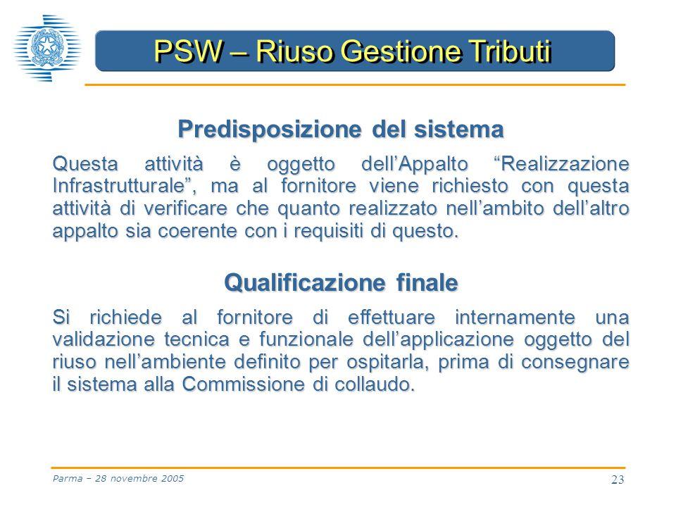 23 Parma – 28 novembre 2005 Predisposizione del sistema Questa attività è oggetto dell'Appalto Realizzazione Infrastrutturale , ma al fornitore viene richiesto con questa attività di verificare che quanto realizzato nell'ambito dell'altro appalto sia coerente con i requisiti di questo.