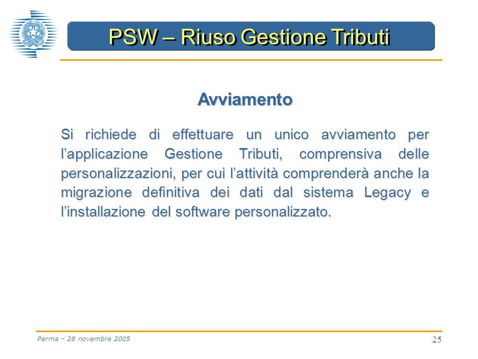 25 Parma – 28 novembre 2005 Avviamento Si richiede di effettuare un unico avviamento per l'applicazione Gestione Tributi, comprensiva delle personalizzazioni, per cui l'attività comprenderà anche la migrazione definitiva dei dati dal sistema Legacy e l'installazione del software personalizzato.
