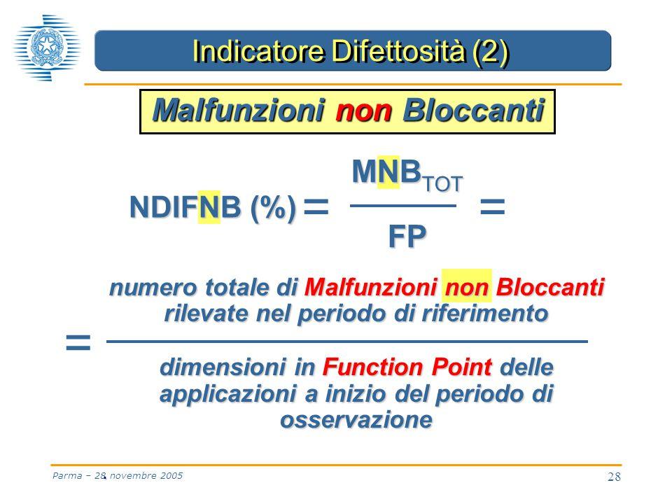 28 Parma – 28 novembre 2005 numero totale di Malfunzioni non Bloccanti rilevate nel periodo di riferimento dimensioni in Function Point delle applicazioni a inizio del periodo di osservazione · = = NDIFNB (%) MNB TOT FP = Malfunzioni non Bloccanti Indicatore Difettosità (2)