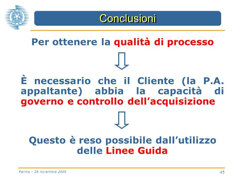 45 Parma – 28 novembre 2005 Per ottenere la qualità di processo È necessario che il Cliente (la P.A.