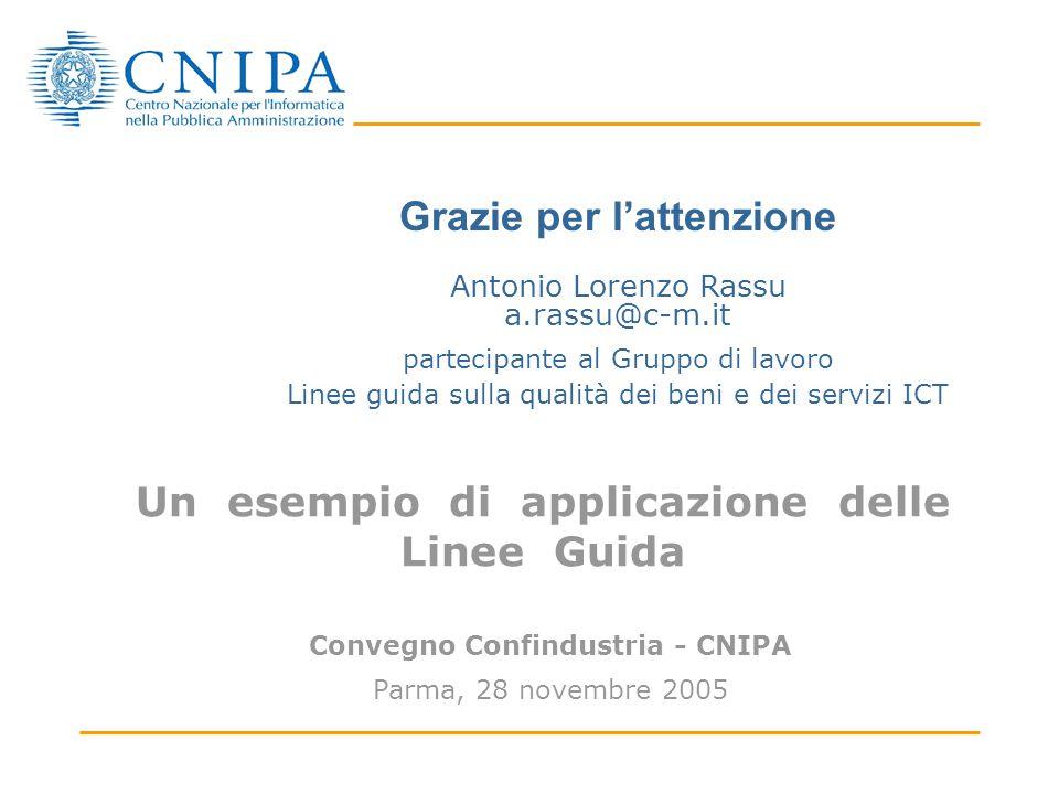 Un esempio di applicazione delle Linee Guida Convegno Confindustria - CNIPA Parma, 28 novembre 2005 Linee guida sulla qualità dei beni e dei servizi ICT Grazie per l'attenzione Antonio Lorenzo Rassu a.rassu@c-m.it partecipante al Gruppo di lavoro