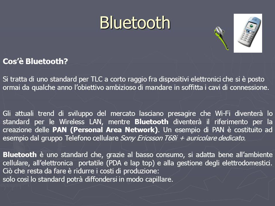 Bluetooth Cos'è Bluetooth? Si tratta di uno standard per TLC a corto raggio fra dispositivi elettronici che si è posto ormai da qualche anno l'obietti