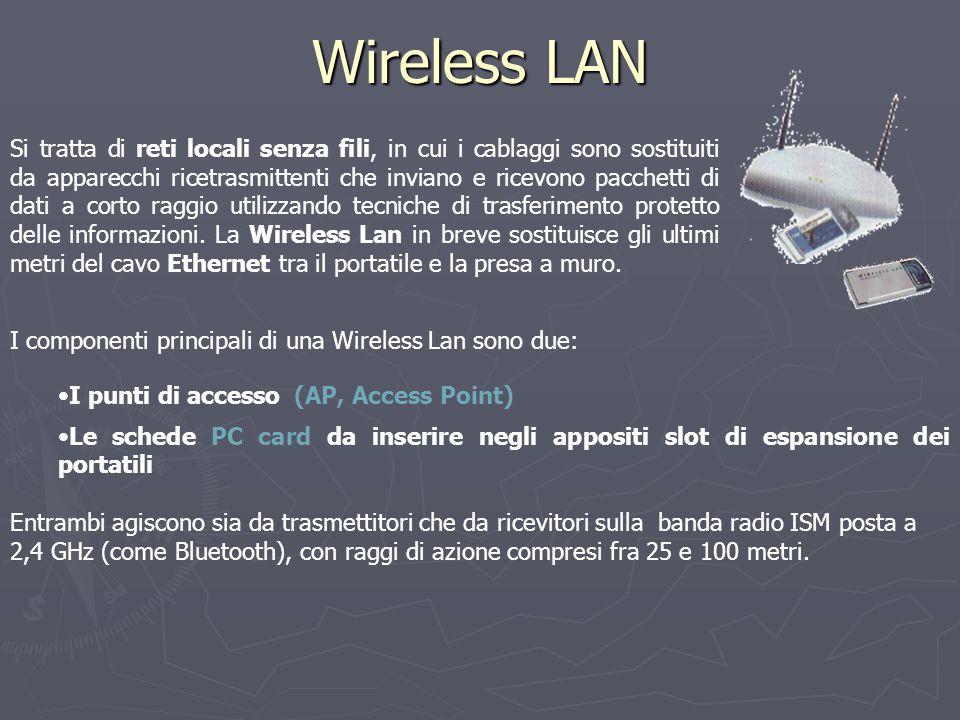 Wireless LAN Si tratta di reti locali senza fili, in cui i cablaggi sono sostituiti da apparecchi ricetrasmittenti che inviano e ricevono pacchetti di dati a corto raggio utilizzando tecniche di trasferimento protetto delle informazioni.