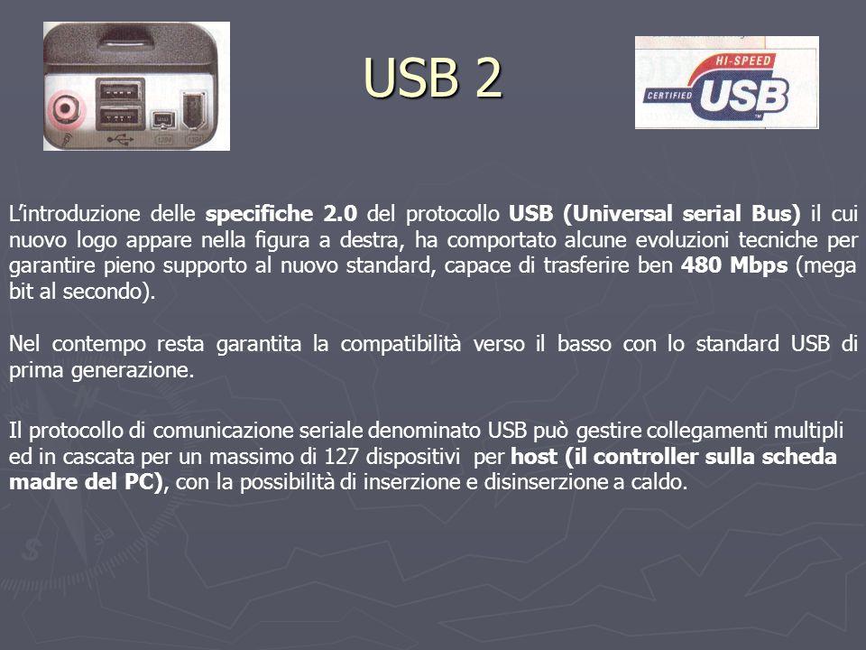 USB 2 L'introduzione delle specifiche 2.0 del protocollo USB (Universal serial Bus) il cui nuovo logo appare nella figura a destra, ha comportato alcune evoluzioni tecniche per garantire pieno supporto al nuovo standard, capace di trasferire ben 480 Mbps (mega bit al secondo).
