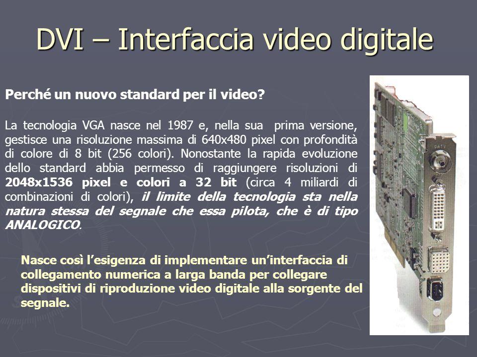 DVI – Interfaccia video digitale Perché un nuovo standard per il video? La tecnologia VGA nasce nel 1987 e, nella sua prima versione, gestisce una ris