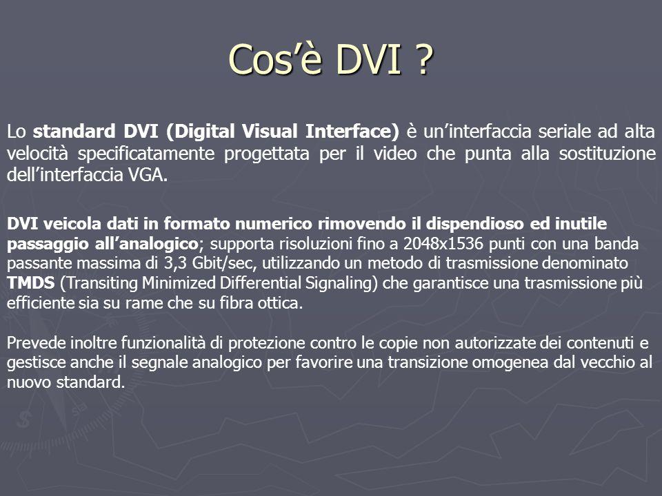 Cos'è DVI ? DVI veicola dati in formato numerico rimovendo il dispendioso ed inutile passaggio all'analogico; supporta risoluzioni fino a 2048x1536 pu