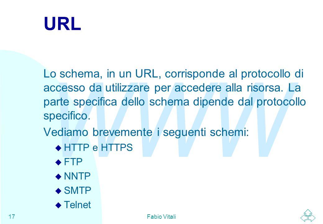 WWW Fabio Vitali17 URL Lo schema, in un URL, corrisponde al protocollo di accesso da utilizzare per accedere alla risorsa.