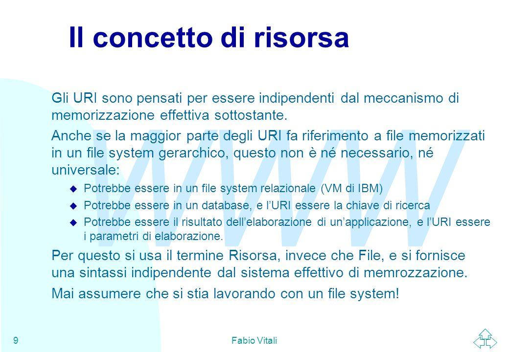 WWW Fabio Vitali10 La sintassi degli URI Un URI è diviso in due parti: u uri = schema : parte-specifica Lo schema di naming (in pratica, il protocollo) é identificato da una stringa arbitraria (ma registrata) usata come prefisso.