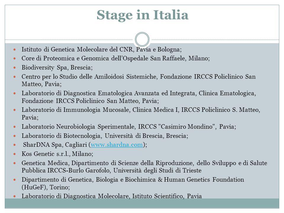 Stage in Italia Istituto di Genetica Molecolare del CNR, Pavia e Bologna; Core di Proteomica e Genomica dell'Ospedale San Raffaele, Milano; Biodiversi