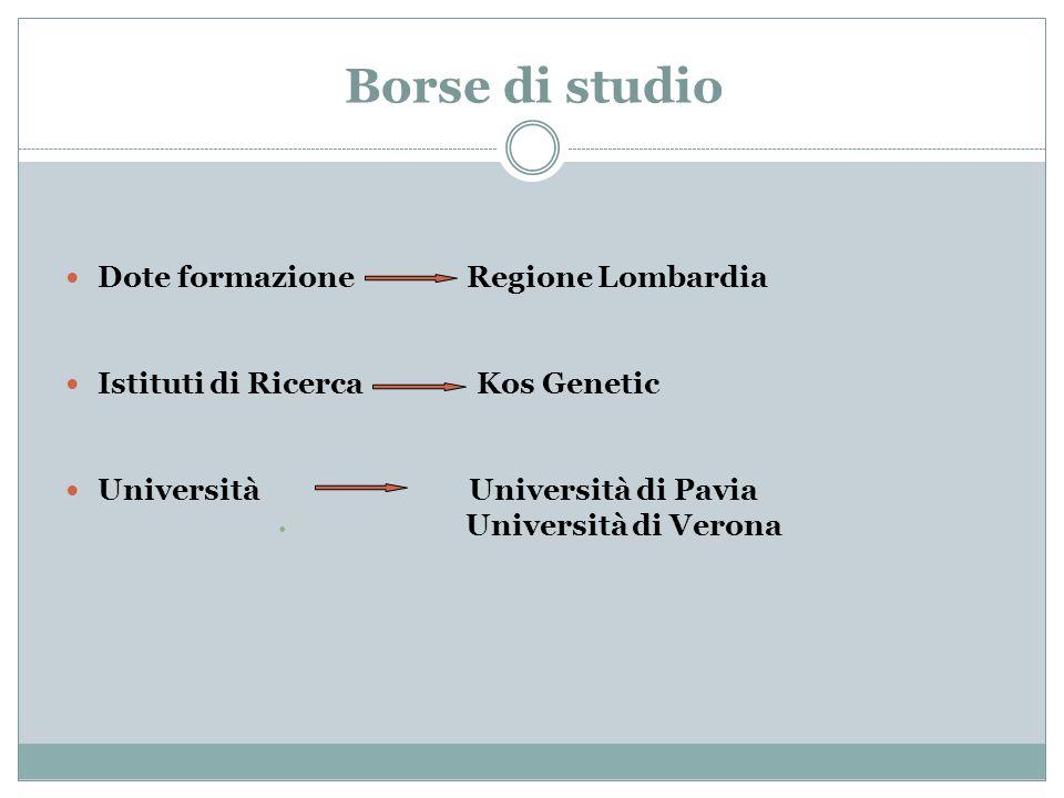 Borse di studio Dote formazione Regione Lombardia Istituti di Ricerca Kos Genetic Università Università di Pavia Università di Verona