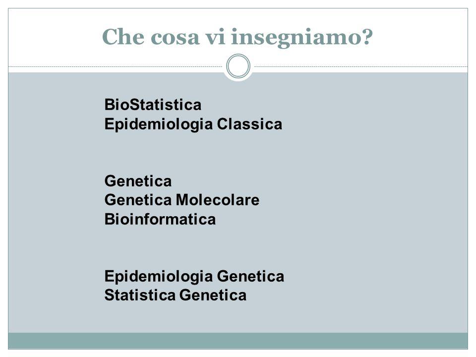Che cosa vi insegniamo? BioStatistica Epidemiologia Classica Genetica Genetica Molecolare Bioinformatica Epidemiologia Genetica Statistica Genetica