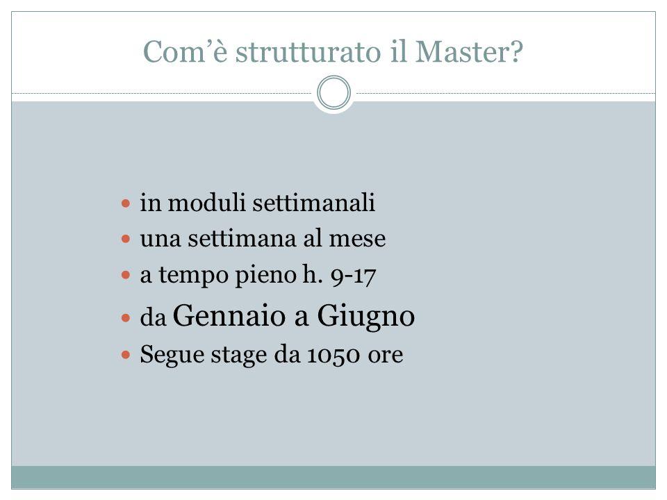 Com'è strutturato il Master? in moduli settimanali una settimana al mese a tempo pieno h. 9-17 da Gennaio a Giugno Segue stage da 1050 ore
