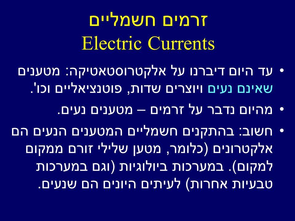 זרמים חשמליים Electric Currents עד היום דיברנו על אלקטרוסטאטיקה: מטענים שאינם נעים ויוצרים שדות, פוטנציאליים וכו .