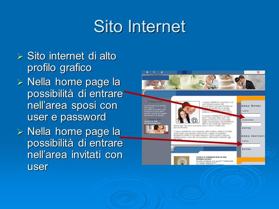  Sito internet di alto profilo grafico  Nella home page la possibilità di entrare nell'area sposi con user e password  Nella home page la possibili