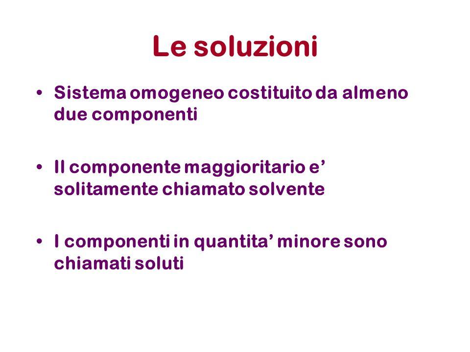 Le soluzioni Sistema omogeneo costituito da almeno due componenti Il componente maggioritario e' solitamente chiamato solvente I componenti in quantita' minore sono chiamati soluti