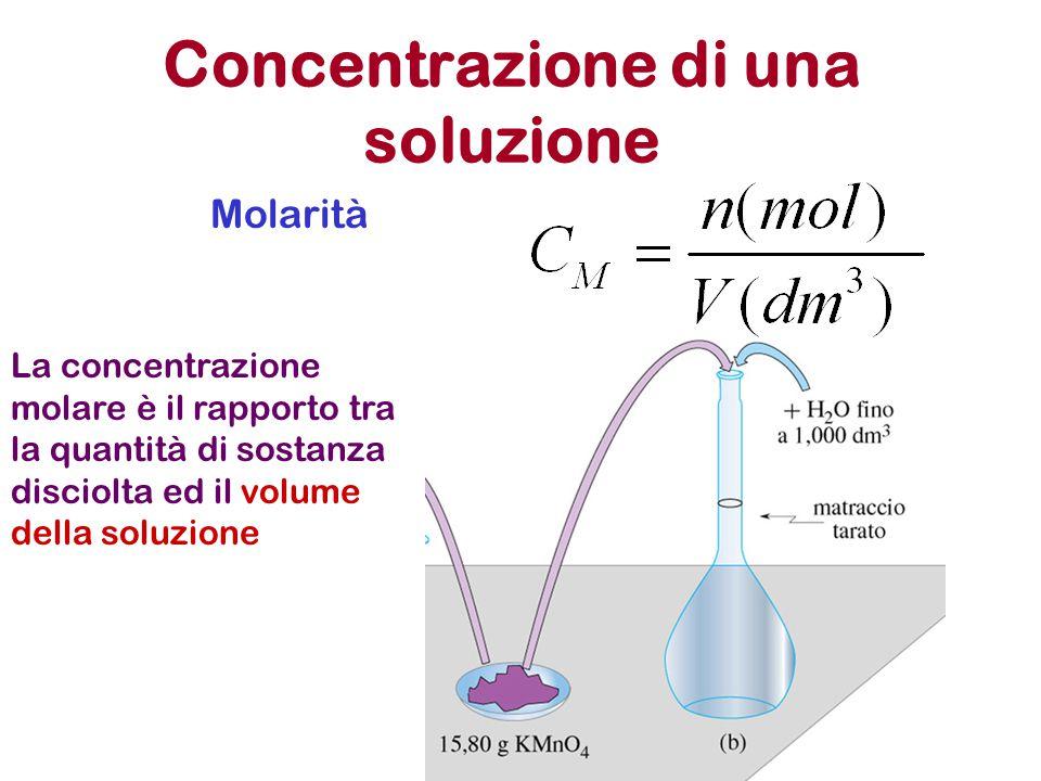 Concentrazione di una soluzione Molarità La concentrazione molare è il rapporto tra la quantità di sostanza disciolta ed il volume della soluzione