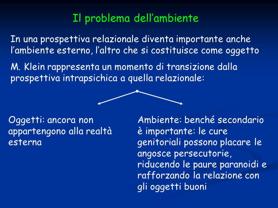 Il problema dell'ambiente In una prospettiva relazionale diventa importante anche l'ambiente esterno, l'altro che si costituisce come oggetto M. Klein