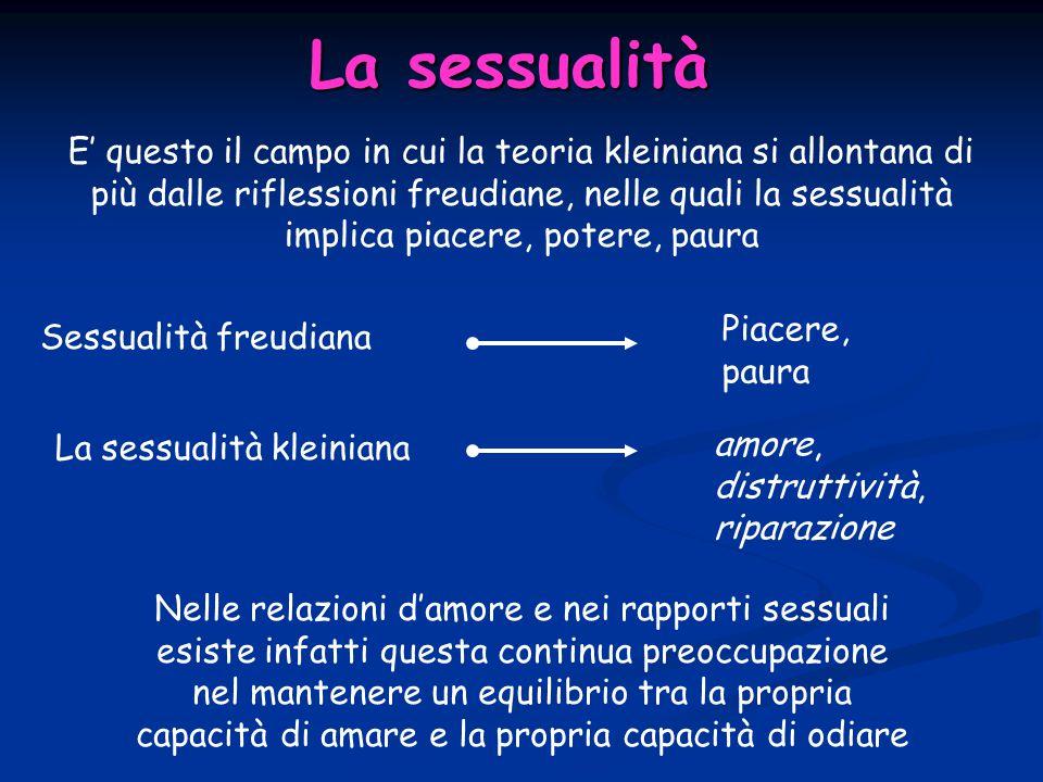 La sessualità E' questo il campo in cui la teoria kleiniana si allontana di più dalle riflessioni freudiane, nelle quali la sessualità implica piacere