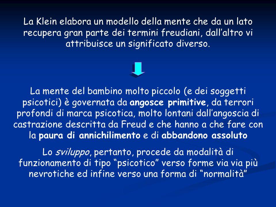 La Klein elabora un modello della mente che da un lato recupera gran parte dei termini freudiani, dall'altro vi attribuisce un significato diverso. La