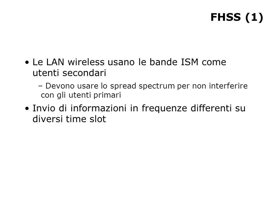 FHSS (1) Le LAN wireless usano le bande ISM come utenti secondari – Devono usare lo spread spectrum per non interferire con gli utenti primari Invio di informazioni in frequenze differenti su diversi time slot