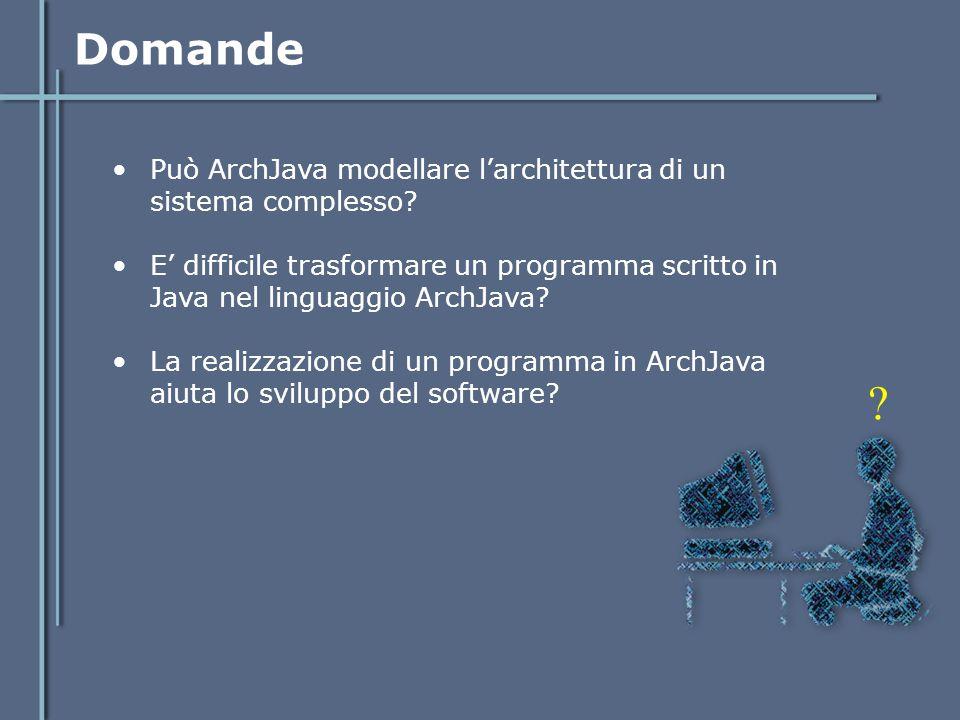 Domande Può ArchJava modellare l'architettura di un sistema complesso? E' difficile trasformare un programma scritto in Java nel linguaggio ArchJava?