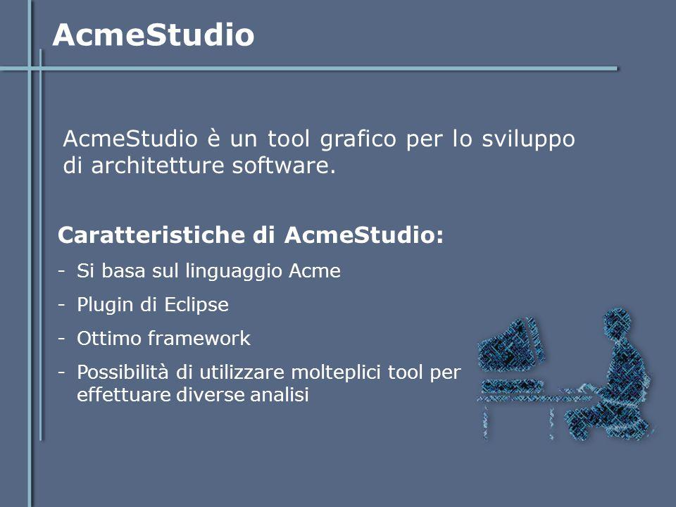 AcmeStudio AcmeStudio è un tool grafico per lo sviluppo di architetture software. Caratteristiche di AcmeStudio: -Si basa sul linguaggio Acme -Plugin