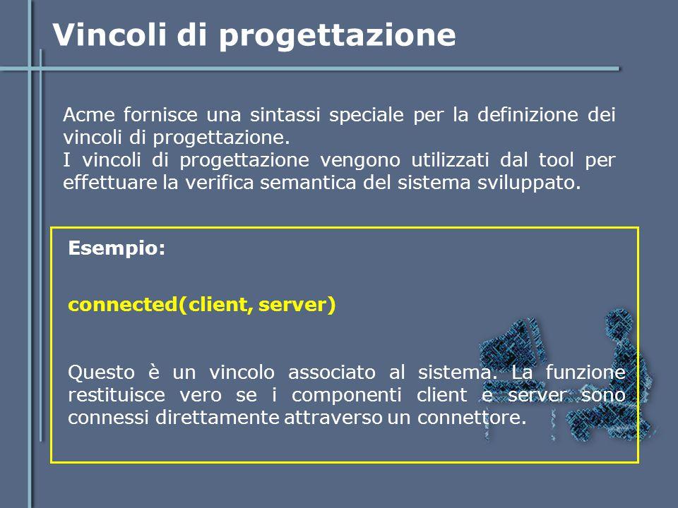 Vincoli di progettazione Acme fornisce una sintassi speciale per la definizione dei vincoli di progettazione. I vincoli di progettazione vengono utili