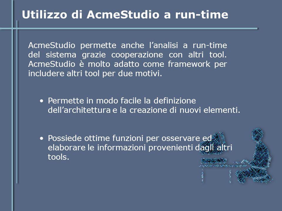 Utilizzo di AcmeStudio a run-time AcmeStudio permette anche l'analisi a run-time del sistema grazie cooperazione con altri tool. AcmeStudio è molto ad