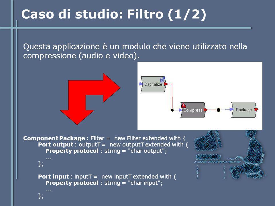 Caso di studio: Filtro (1/2) Questa applicazione è un modulo che viene utilizzato nella compressione (audio e video). Component Package : Filter = new