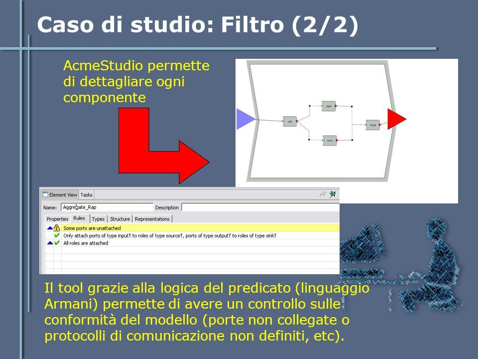 Caso di studio: Filtro (2/2) AcmeStudio permette di dettagliare ogni componente Il tool grazie alla logica del predicato (linguaggio Armani) permette