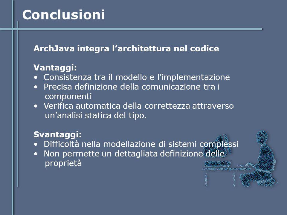 Conclusioni ArchJava integra l'architettura nel codice Vantaggi: Consistenza tra il modello e l'implementazione Precisa definizione della comunicazion