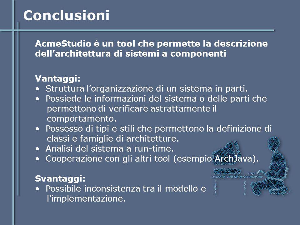 Conclusioni AcmeStudio è un tool che permette la descrizione dell'architettura di sistemi a componenti Vantaggi: Struttura l'organizzazione di un sist