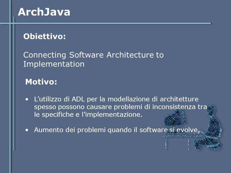 Le funzionalità di ArchJava La possibilità di specificare l'architettura dentro al codice del sistema Verificare la comunicazione tra i componenti - Controllo statico - Il codice e l'architettura evolvono insieme Flessibilità - Ha la possibilità di effettuare cambiamenti dinamici dell'architettura - Permette di adottare qualsiasi tecnica di programmazione