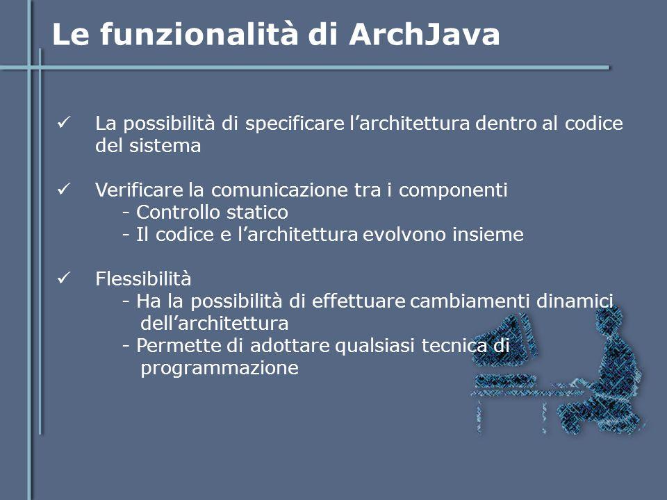 Linguaggio di ArchJava ArchJava ha aggiunto dei nuovi costrutti al linguaggio Java: Componenti - Classi con vincoli architetturali Porte - Definiscono l'interfaccia di comunicazione del componente - Specificano i metodi forniti e richiesti per la comunicazione Connessioni - Collegano le porte - I componenti possono comunicare solamente con i componenti a cui sono connessi e ai sottocomponenti.