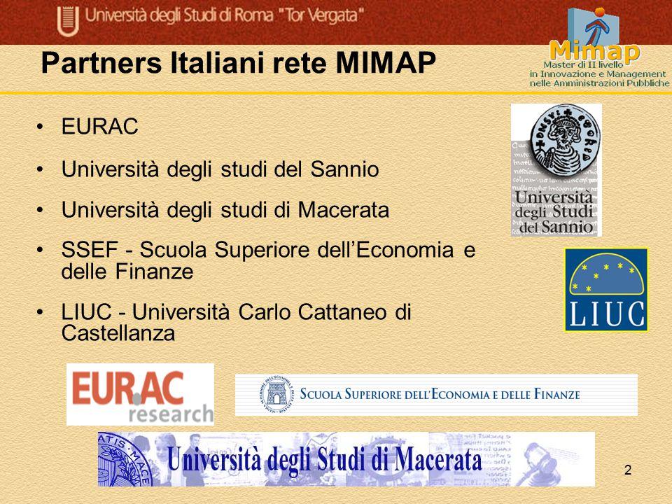 2 Partners Italiani rete MIMAP EURAC Università degli studi del Sannio Università degli studi di Macerata SSEF - Scuola Superiore dell'Economia e dell