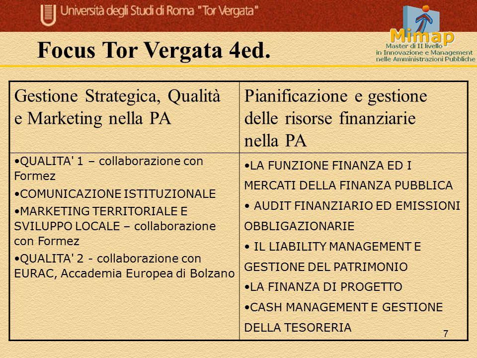 7 Gestione Strategica, Qualità e Marketing nella PA Pianificazione e gestione delle risorse finanziarie nella PA QUALITA' 1 – collaborazione con Forme