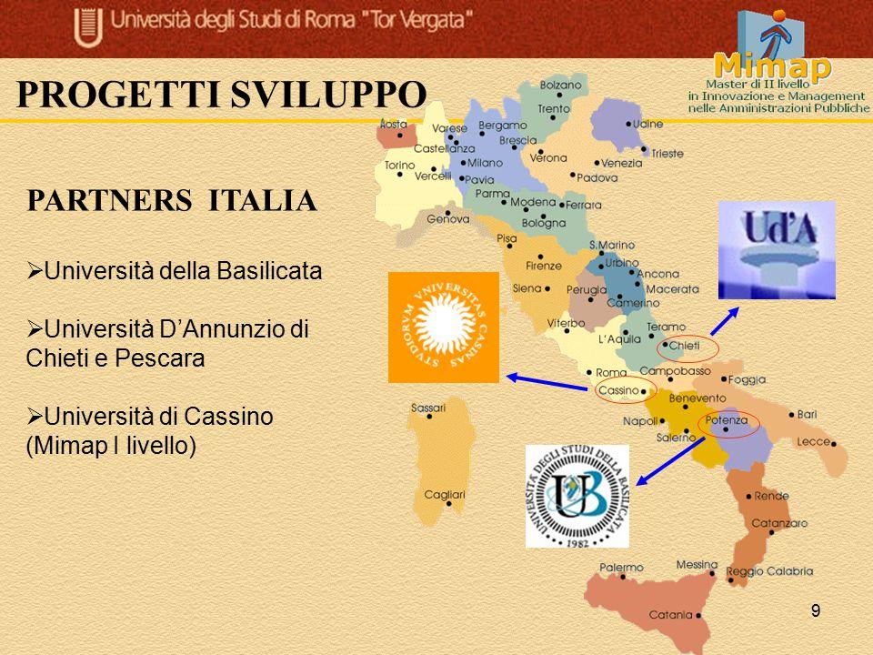 9 PROGETTI SVILUPPO PARTNERS ITALIA  Università della Basilicata  Università D'Annunzio di Chieti e Pescara  Università di Cassino (Mimap I livello