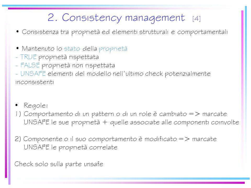 2. Consistency management [4] Consistenza tra proprietà ed elementi strutturali e comportamentali Mantenuto lo stato della proprietà - TRUE proprietà