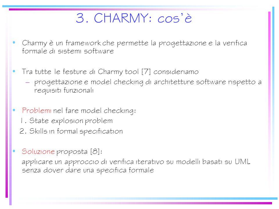 3. CHARMY: cos'è Charmy è un framework che permette la progettazione e la verifica formale di sistemi software Tra tutte le festure di Charmy tool [7]