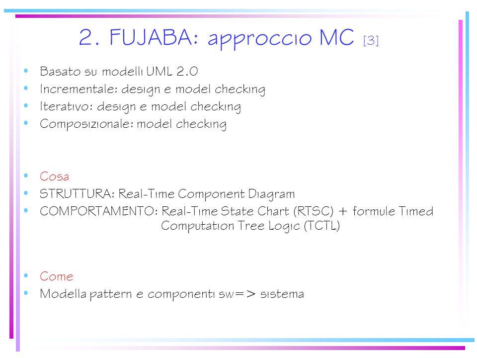 2. FUJABA: approccio MC [3] Basato su modelli UML 2.0 Incrementale: design e model checking Iterativo: design e model checking Composizionale: model c