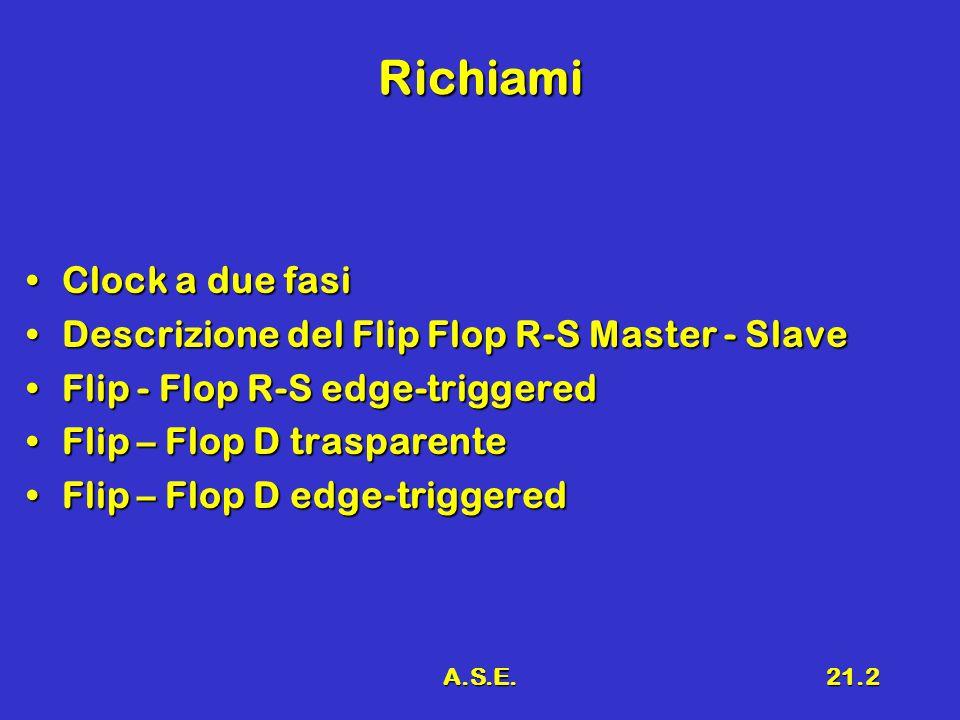 A.S.E.21.2 Richiami Clock a due fasiClock a due fasi Descrizione del Flip Flop R-S Master - SlaveDescrizione del Flip Flop R-S Master - Slave Flip - Flop R-S edge-triggeredFlip - Flop R-S edge-triggered Flip – Flop D trasparenteFlip – Flop D trasparente Flip – Flop D edge-triggeredFlip – Flop D edge-triggered