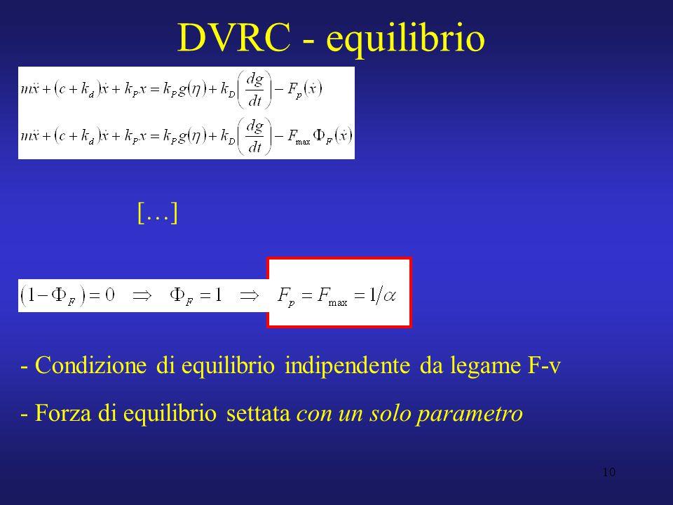 10 DVRC - equilibrio - Condizione di equilibrio indipendente da legame F-v - Forza di equilibrio settata con un solo parametro […]
