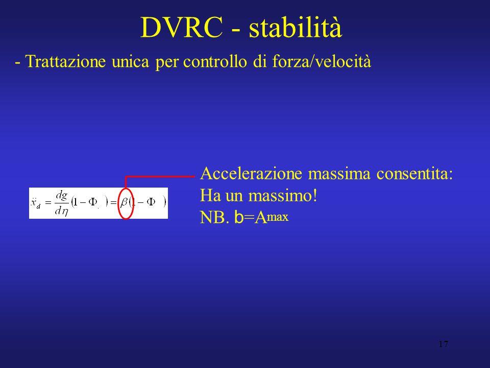17 DVRC - stabilità - Trattazione unica per controllo di forza/velocità Accelerazione massima consentita: Ha un massimo.