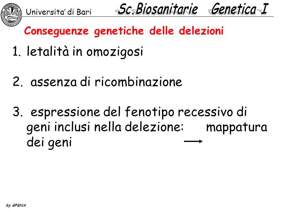 Conseguenze genetiche delle delezioni 1.letalità in omozigosi 2. assenza di ricombinazione 3. espressione del fenotipo recessivo di geni inclusi nella