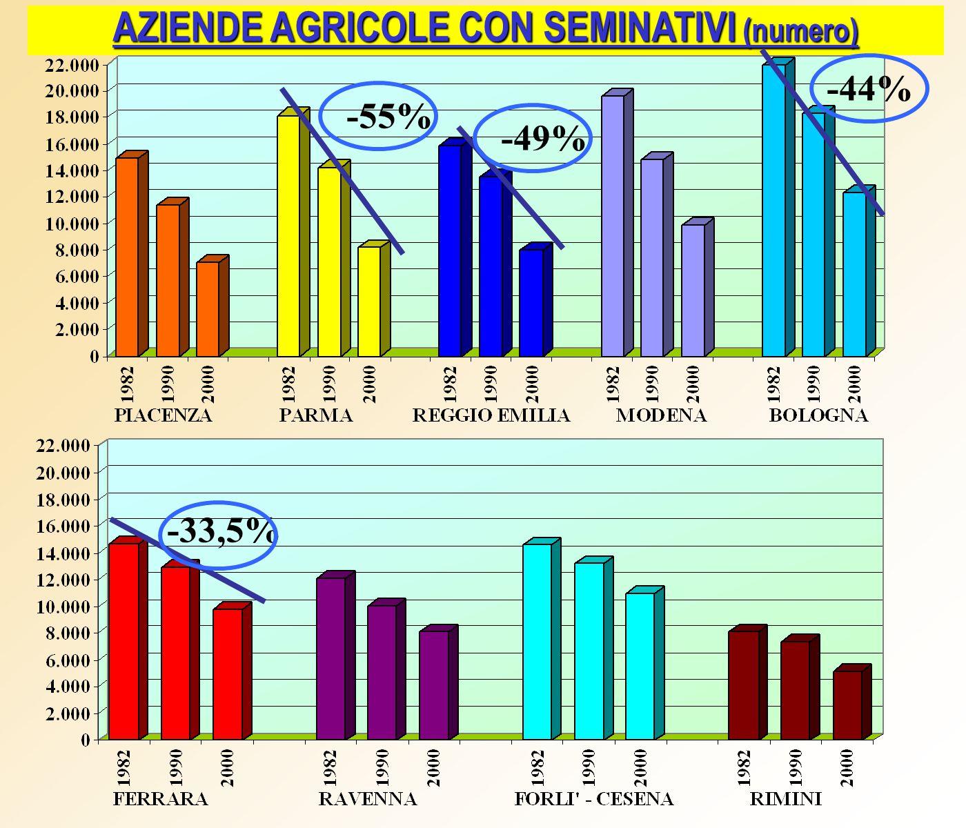 AZIENDE AGRICOLE CON SEMINATIVI (numero) -55% -44% -49% -33,5%