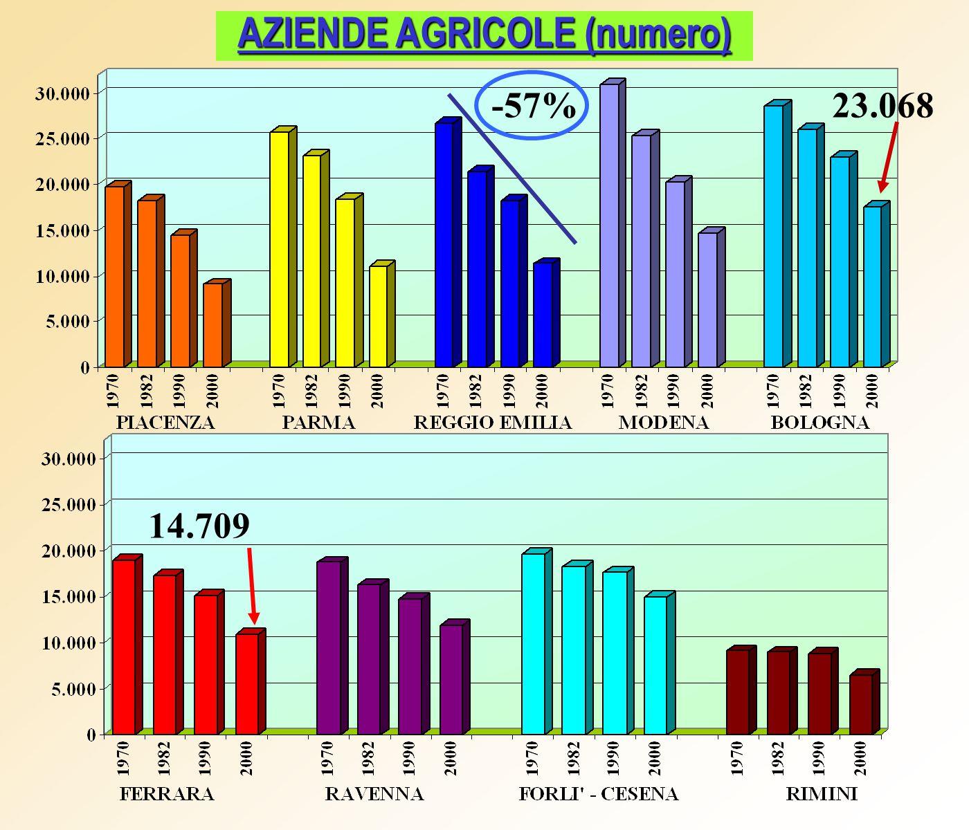 AZIENDE AGRICOLE (numero) 23.068 14.709 -57%