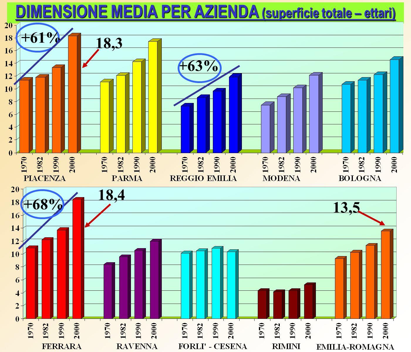 VARIAZIONE DELLE AZIENDE E DELLA SAU DIMENSIONE MEDIA PER AZIENDA AGRICOLA (SAU – ettari) 14,1 10,3 11,6 -43% -6% -28% CONFRONTI CON ALTRE REGIONI -8,5% -10% -7,5%