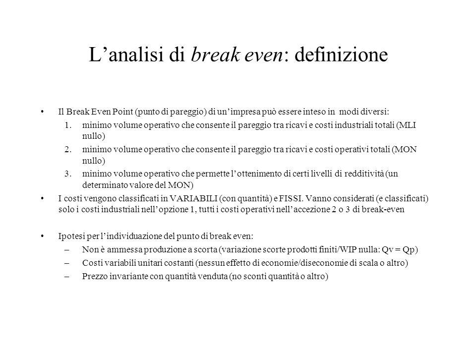 L'analisi di break even: definizione Il Break Even Point (punto di pareggio) di un'impresa può essere inteso in modi diversi: 1.minimo volume operativ