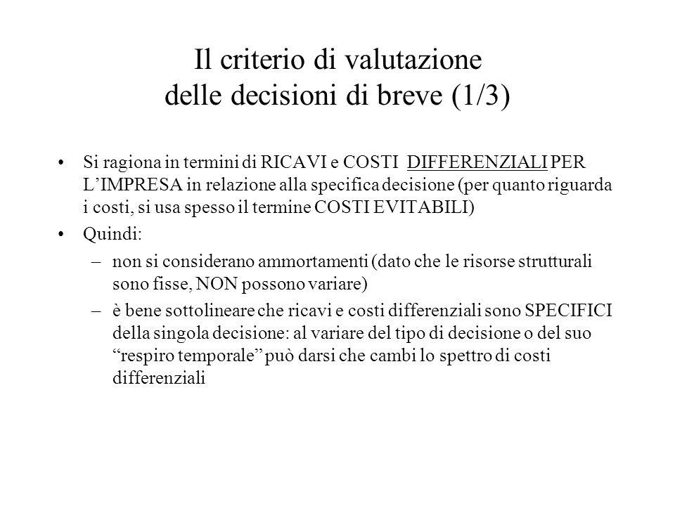 Il criterio di valutazione delle decisioni di breve (1/3) Si ragiona in termini di RICAVI e COSTI DIFFERENZIALI PER L'IMPRESA in relazione alla specif